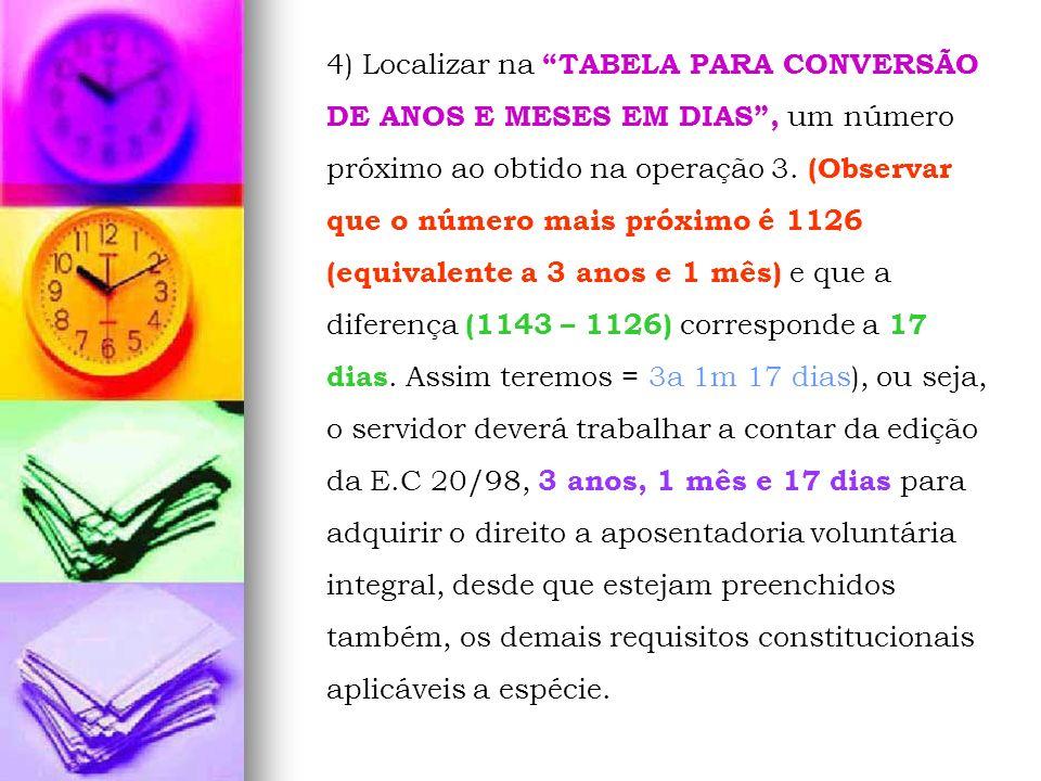 4) Localizar na TABELA PARA CONVERSÃO DE ANOS E MESES EM DIAS, um número próximo ao obtido na operação 3. (Observar que o número mais próximo é 1126 (
