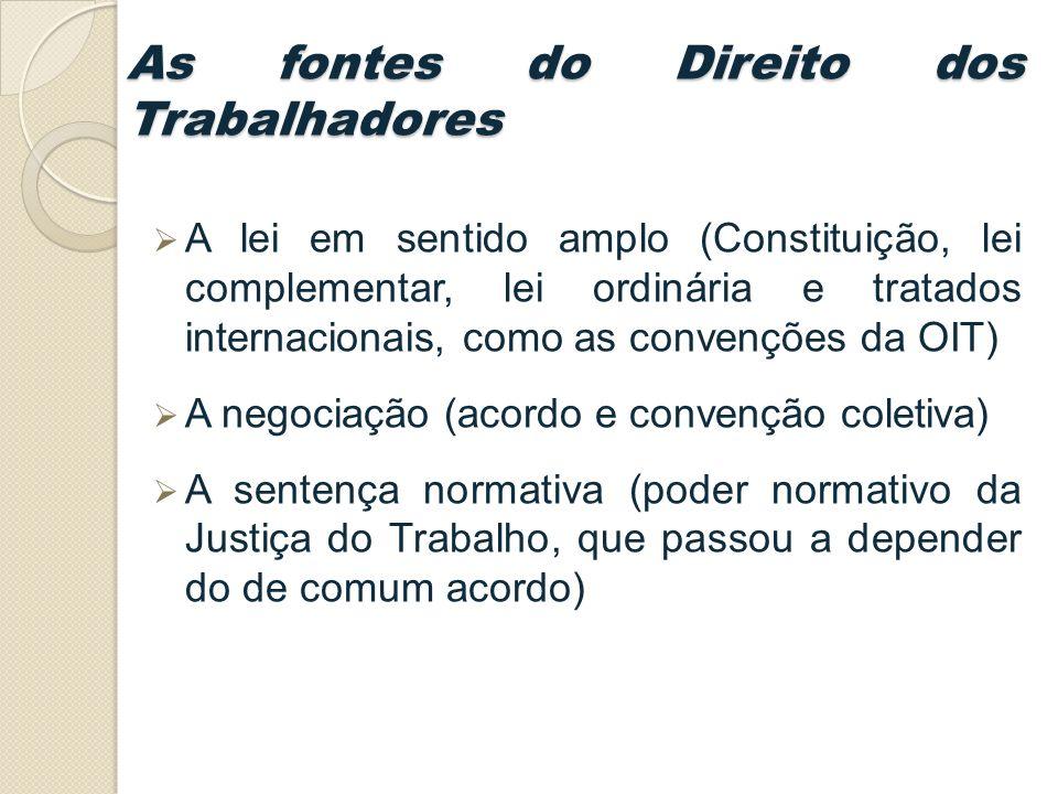 A lei em sentido amplo (Constituição, lei complementar, lei ordinária e tratados internacionais, como as convenções da OIT) A negociação (acordo e convenção coletiva) A sentença normativa (poder normativo da Justiça do Trabalho, que passou a depender do de comum acordo) As fontes do Direito dos Trabalhadores