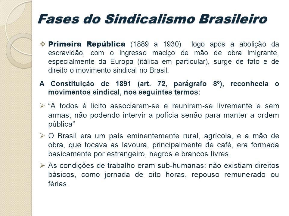 Primeira República (1889 a 1930) logo após a abolição da escravidão, com o ingresso maciço de mão de obra imigrante, especialmente da Europa (itálica em particular), surge de fato e de direito o movimento sindical no Brasil.