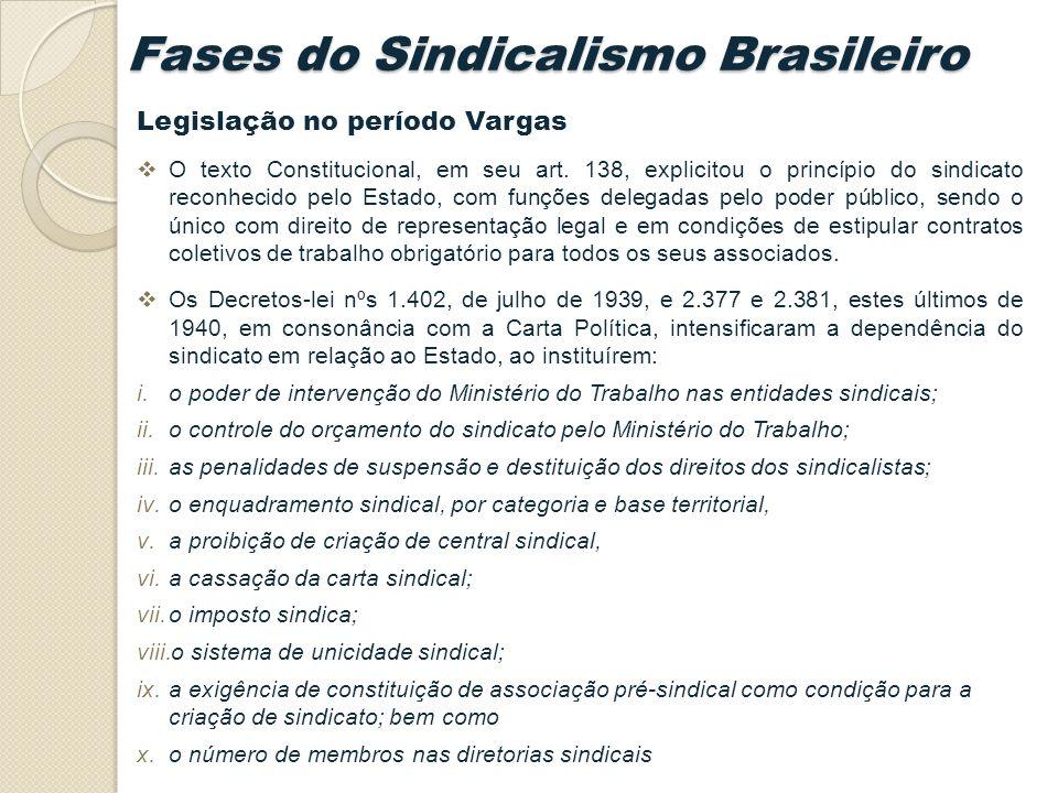 Legislação no período Vargas O texto Constitucional, em seu art.