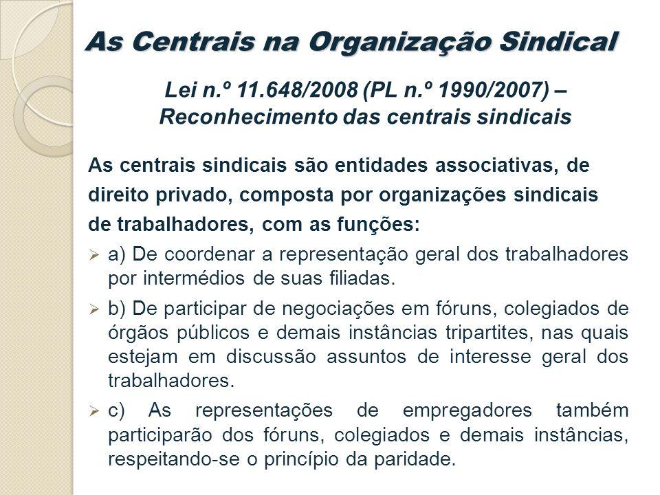 Lei n.º 11.648/2008 (PL n.º 1990/2007) – Reconhecimento das centrais sindicais As centrais sindicais são entidades associativas, de direito privado, composta por organizações sindicais de trabalhadores, com as funções: a) De coordenar a representação geral dos trabalhadores por intermédios de suas filiadas.