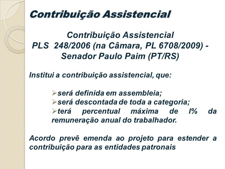Institui a contribuição assistencial, que: será definida em assembleia; será descontada de toda a categoria; terá percentual máxima de l% da remuneração anual do trabalhador.
