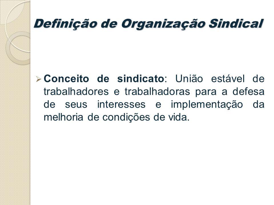 Definição de Organização Sindical Conceito de sindicato: União estável de trabalhadores e trabalhadoras para a defesa de seus interesses e implementação da melhoria de condições de vida.