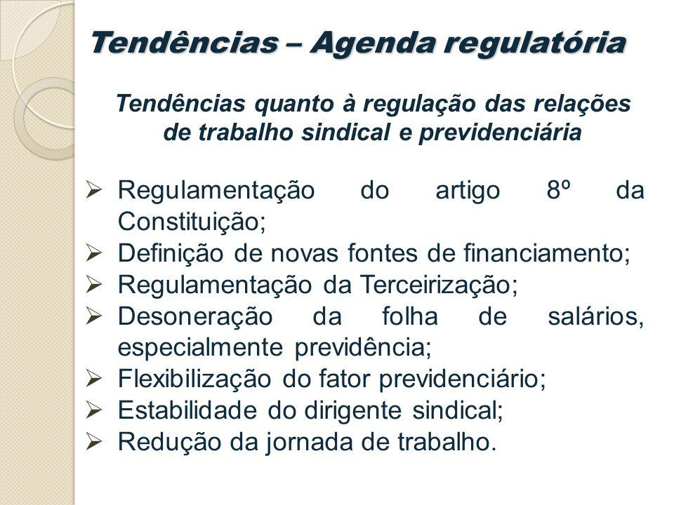 Regulamentação do artigo 8º da Constituição; Definição de novas fontes de financiamento; Regulamentação da Terceirização; Desoneração da folha de salários, especialmente previdência; Flexibilização do fator previdenciário; Estabilidade do dirigente sindical; Redução da jornada de trabalho.