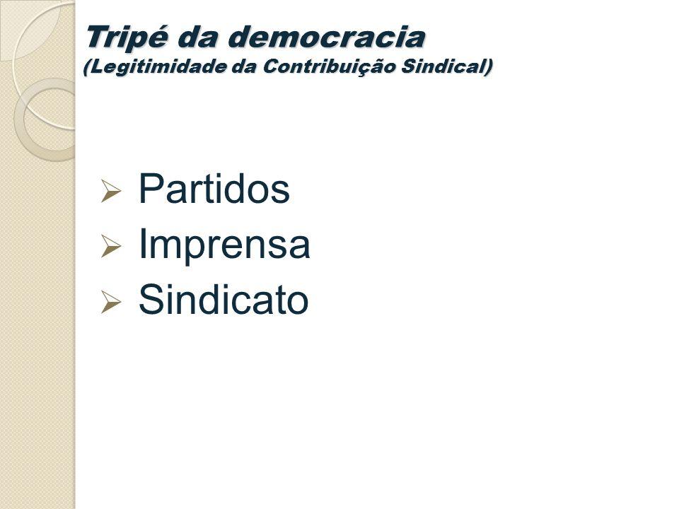 Tripé da democracia (Legitimidade da Contribuição Sindical) Partidos Imprensa Sindicato