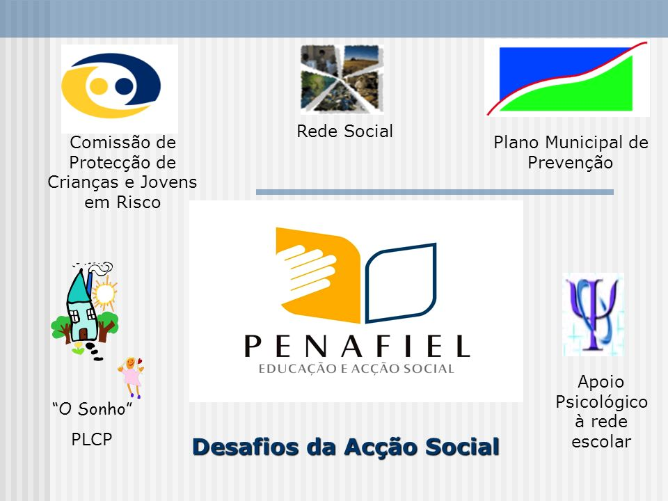 Plano Municipal de Prevenção Comissão de Protecção de Crianças e Jovens em Risco Rede Social O Sonho PLCP Apoio Psicológico à rede escolar Desafios da