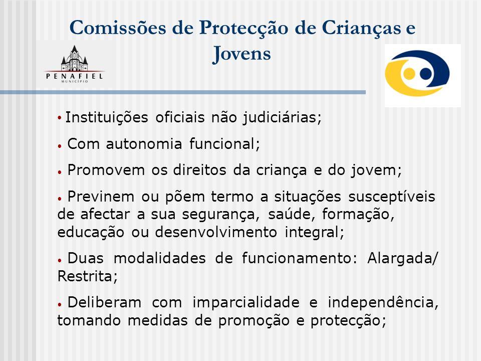 Comissões de Protecção de Crianças e Jovens Instituições oficiais não judiciárias; Com autonomia funcional; Promovem os direitos da criança e do jovem