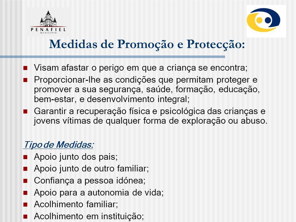 Medidas de Promoção e Protecção: Visam afastar o perigo em que a criança se encontra; Proporcionar-lhe as condições que permitam proteger e promover a