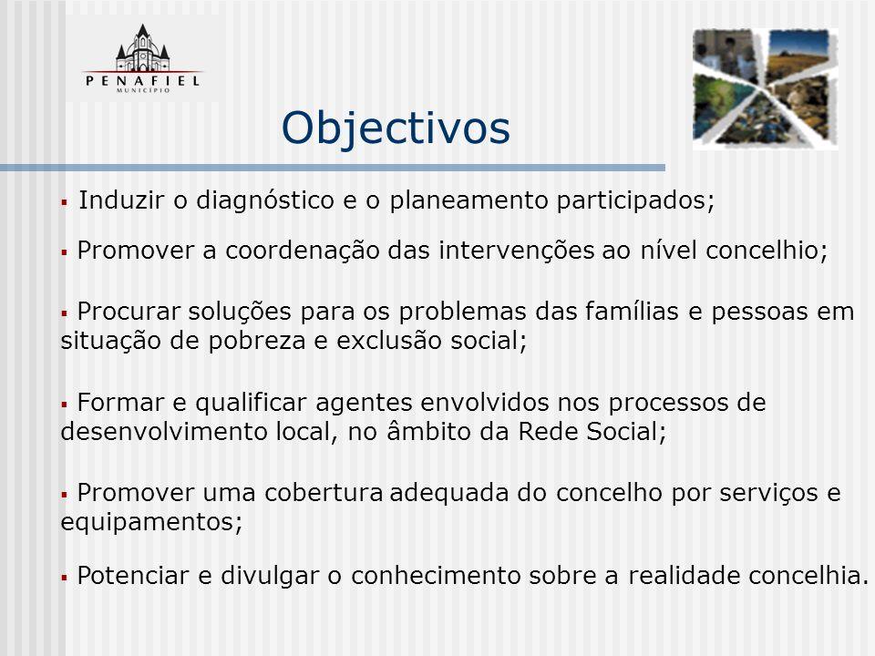 Objectivos Induzir o diagnóstico e o planeamento participados; Promover a coordenação das intervenções ao nível concelhio; Procurar soluções para os p