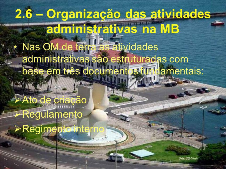 2.6 – Organização das atividades administrativas na MB Nas OM de terra as atividades administrativas são estruturadas com base em três documentos fund
