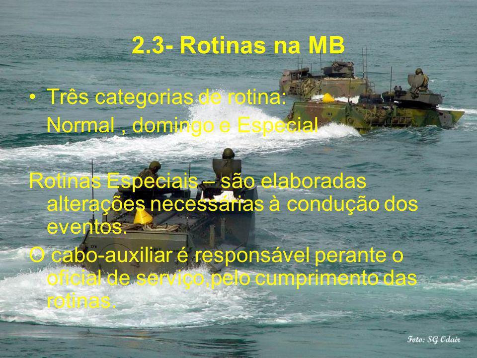 2.3- Rotinas na MB Três categorias de rotina: Normal, domingo e Especial Rotinas Especiais – são elaboradas alterações necessárias à condução dos even