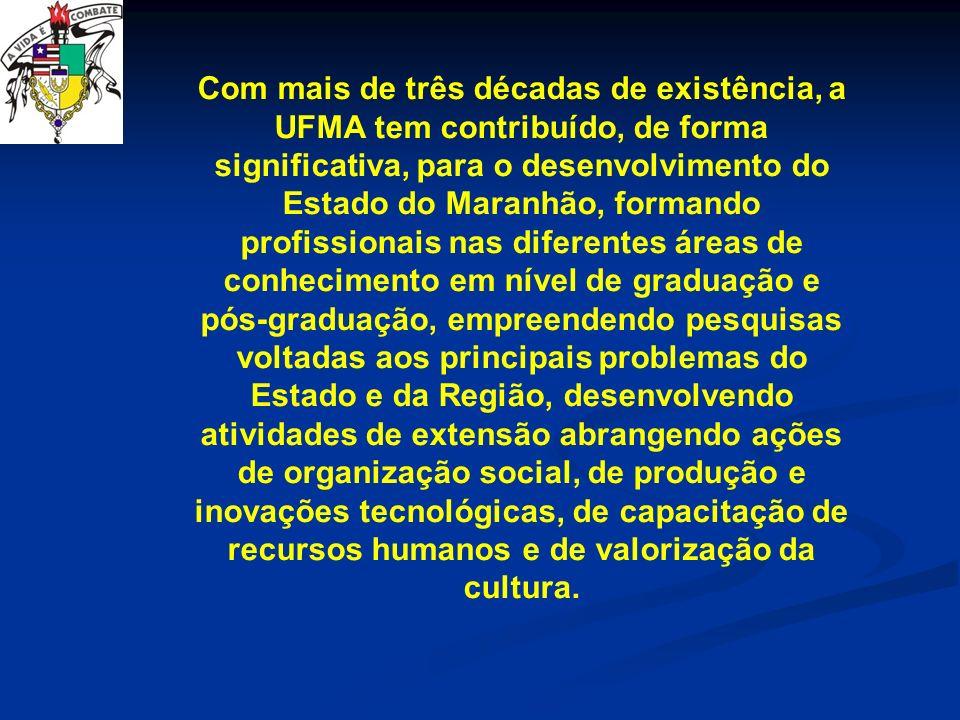 Com mais de três décadas de existência, a UFMA tem contribuído, de forma significativa, para o desenvolvimento do Estado do Maranhão, formando profiss