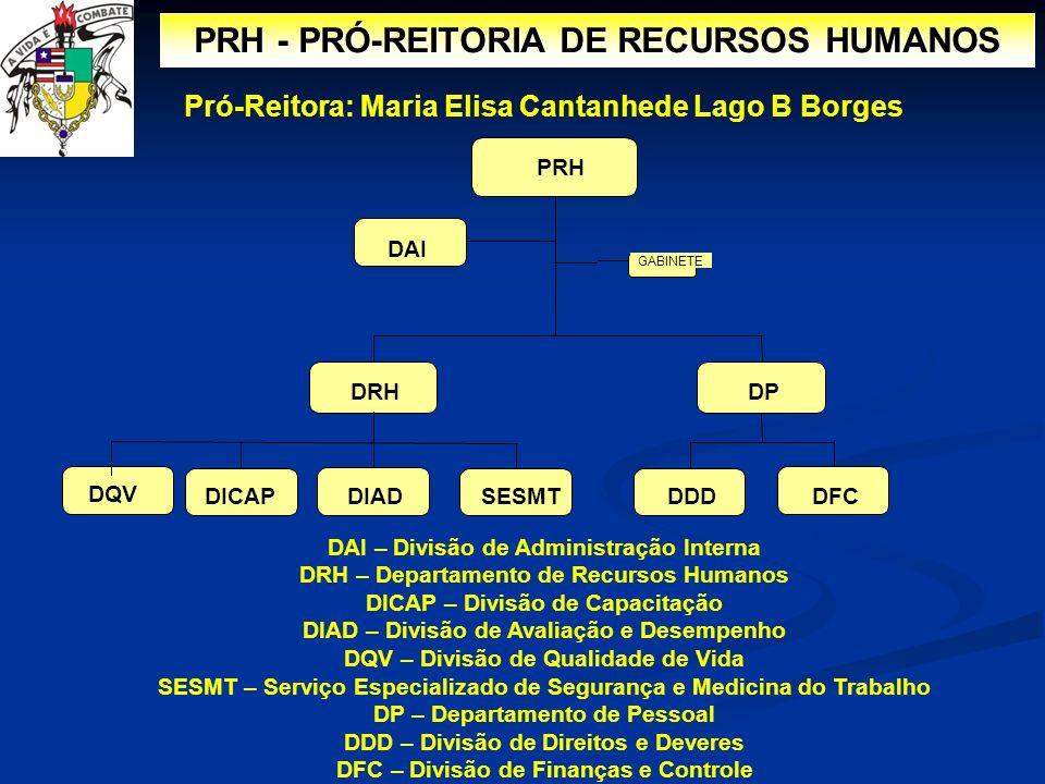PRH - PRÓ-REITORIA DE RECURSOS HUMANOS PRH GABINETE DRHDP DFCDDDSESMTDICAPDIAD DAI DAI – Divisão de Administração Interna DRH – Departamento de Recurs
