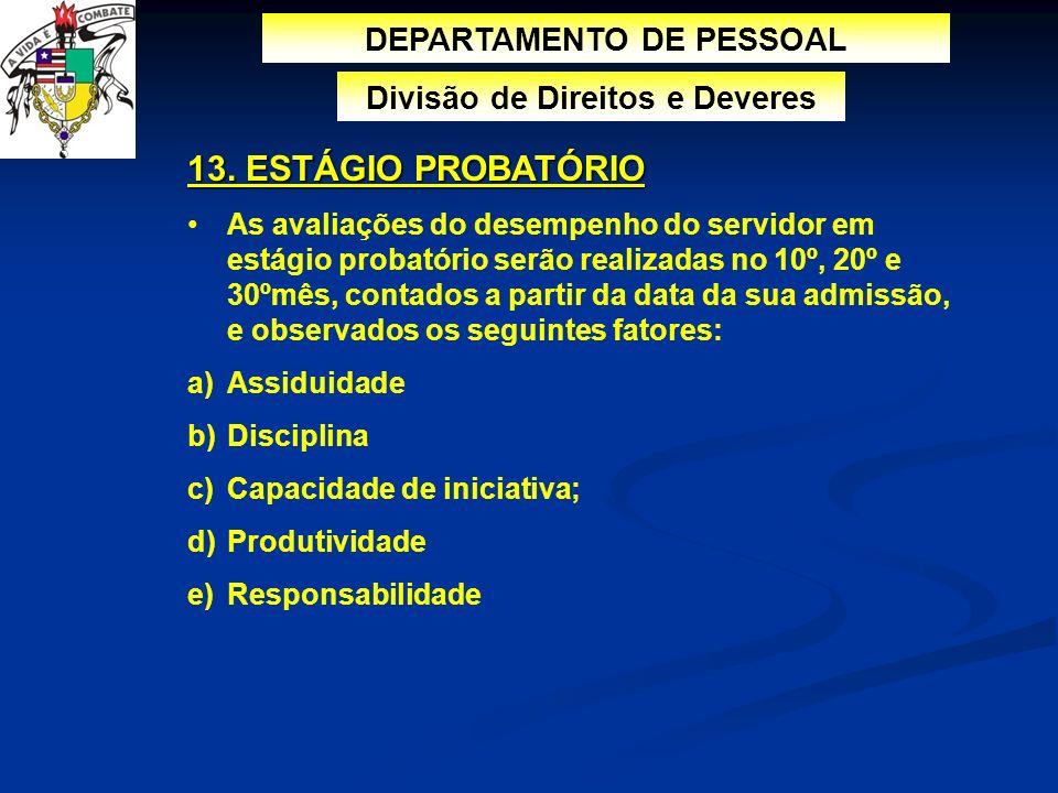 DEPARTAMENTO DE PESSOAL Divisão de Direitos e Deveres 13. ESTÁGIO PROBATÓRIO As avaliações do desempenho do servidor em estágio probatório serão reali