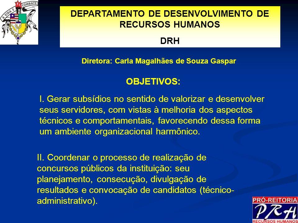 DEPARTAMENTO DE DESENVOLVIMENTO DE RECURSOS HUMANOS DRH OBJETIVOS: I. Gerar subsídios no sentido de valorizar e desenvolver seus servidores, com vista