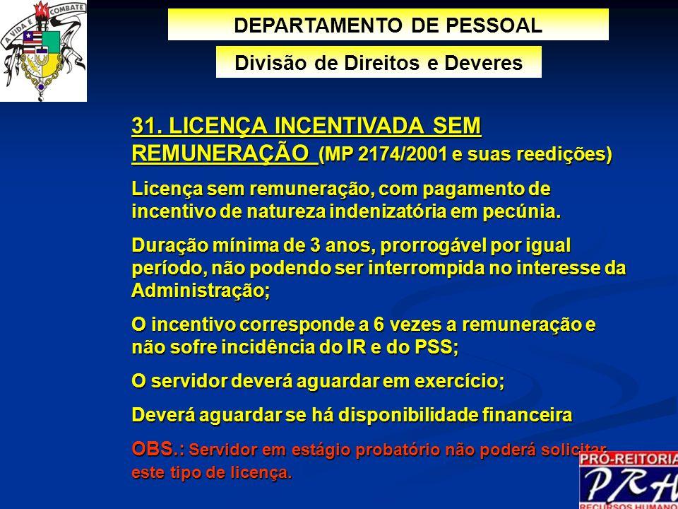 31. LICENÇA INCENTIVADA SEM REMUNERAÇÃO (MP 2174/2001 e suas reedições) Licença sem remuneração, com pagamento de incentivo de natureza indenizatória