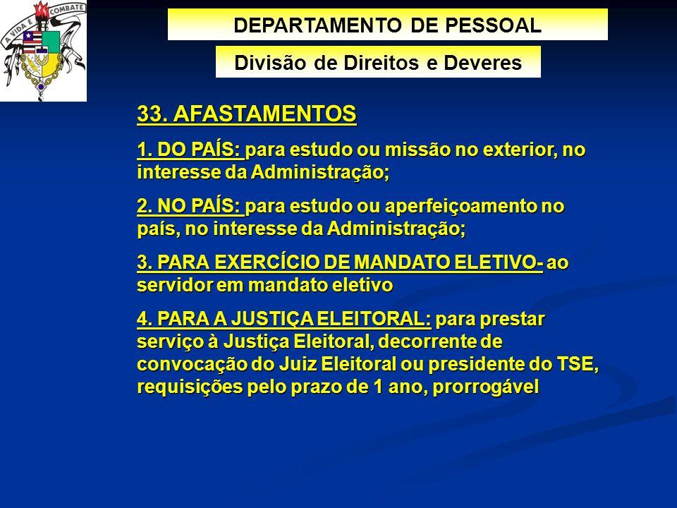 DEPARTAMENTO DE PESSOAL Divisão de Direitos e Deveres 33. AFASTAMENTOS 1. DO PAÍS: para estudo ou missão no exterior, no interesse da Administração; 2