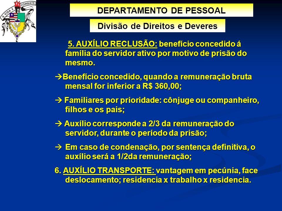 DEPARTAMENTO DE PESSOAL Divisão de Direitos e Deveres 5. AUXÍLIO RECLUSÃO: benefício concedido á família do servidor ativo por motivo de prisão do mes