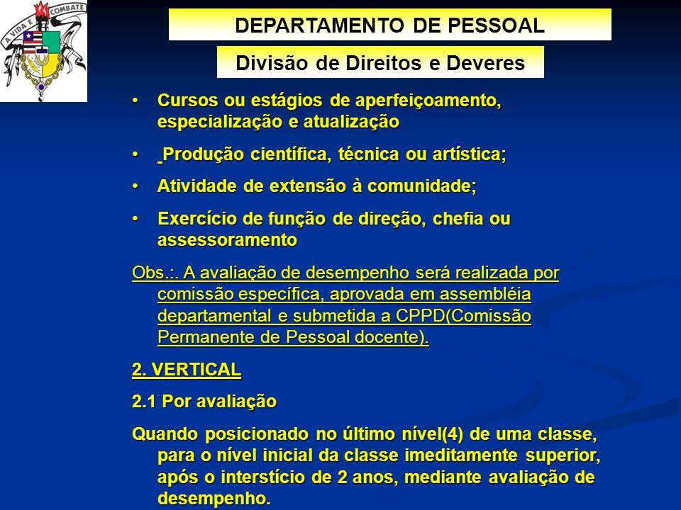 DEPARTAMENTO DE PESSOAL Divisão de Direitos e Deveres Cursos ou estágios de aperfeiçoamento, especialização e atualizaçãoCursos ou estágios de aperfei