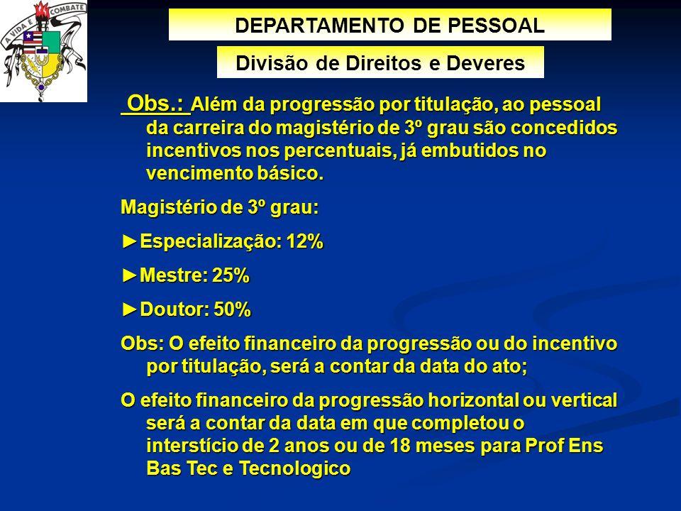 DEPARTAMENTO DE PESSOAL Divisão de Direitos e Deveres Obs.: Além da progressão por titulação, ao pessoal da carreira do magistério de 3º grau são conc