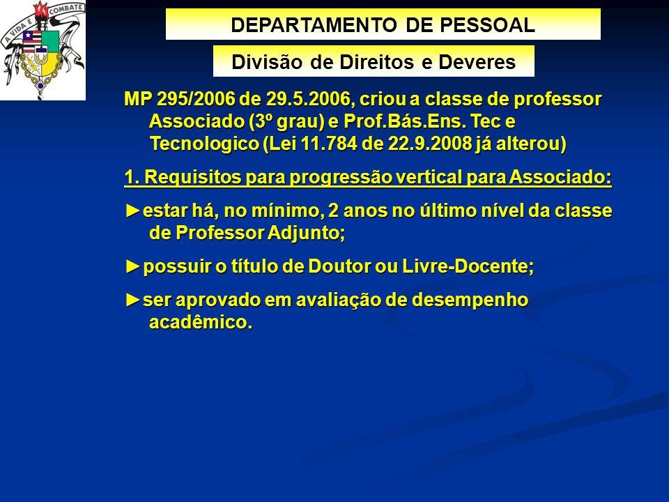 DEPARTAMENTO DE PESSOAL Divisão de Direitos e Deveres MP 295/2006 de 29.5.2006, criou a classe de professor Associado (3º grau) e Prof.Bás.Ens. Tec e