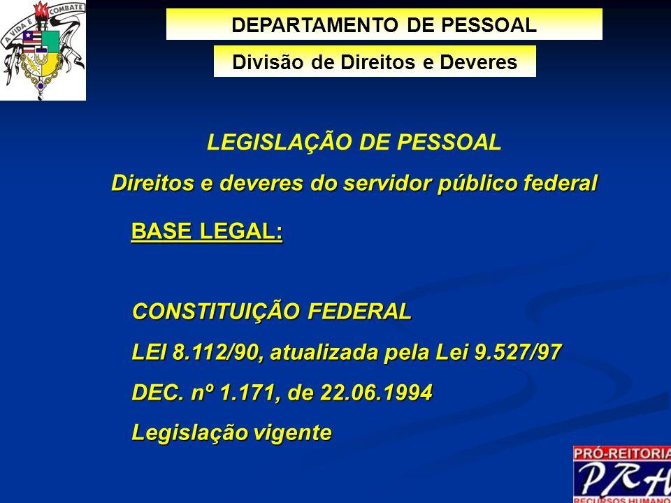 BASE LEGAL: CONSTITUIÇÃO FEDERAL LEI 8.112/90, atualizada pela Lei 9.527/97 DEC. nº 1.171, de 22.06.1994 Legislação vigente DEPARTAMENTO DE PESSOAL LE