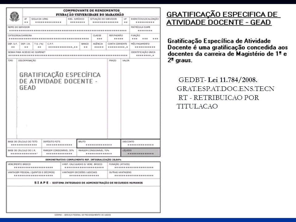 GEDBT- Lei 11.784/2008. GRAT.ESP.AT.DOC.ENS.TECN RT - RETRIBUICAO POR TITULACAO