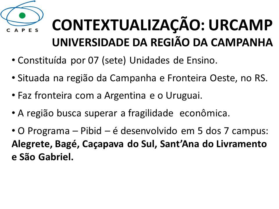 CONTEXTUALIZAÇÃO: URCAMP UNIVERSIDADE DA REGIÃO DA CAMPANHA Constituída por 07 (sete) Unidades de Ensino. Situada na região da Campanha e Fronteira Oe