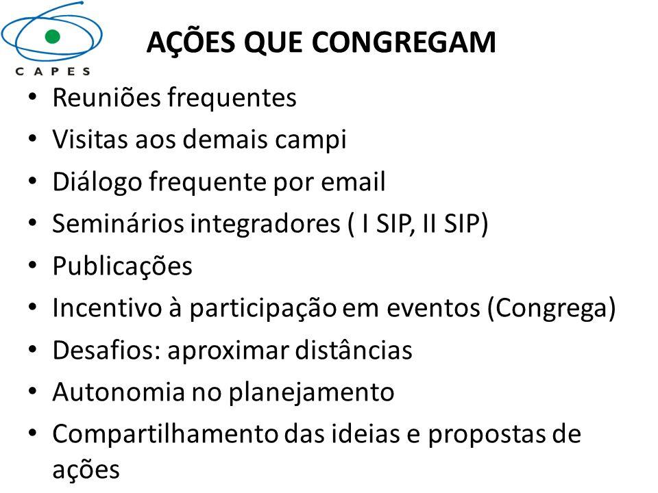 AÇÕES QUE CONGREGAM Reuniões frequentes Visitas aos demais campi Diálogo frequente por email Seminários integradores ( I SIP, II SIP) Publicações Ince