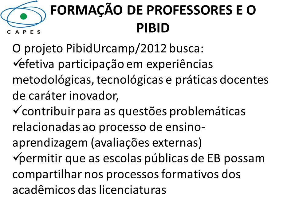 FORMAÇÃO DE PROFESSORES E O PIBID O projeto PibidUrcamp/2012 busca: efetiva participação em experiências metodológicas, tecnológicas e práticas docent