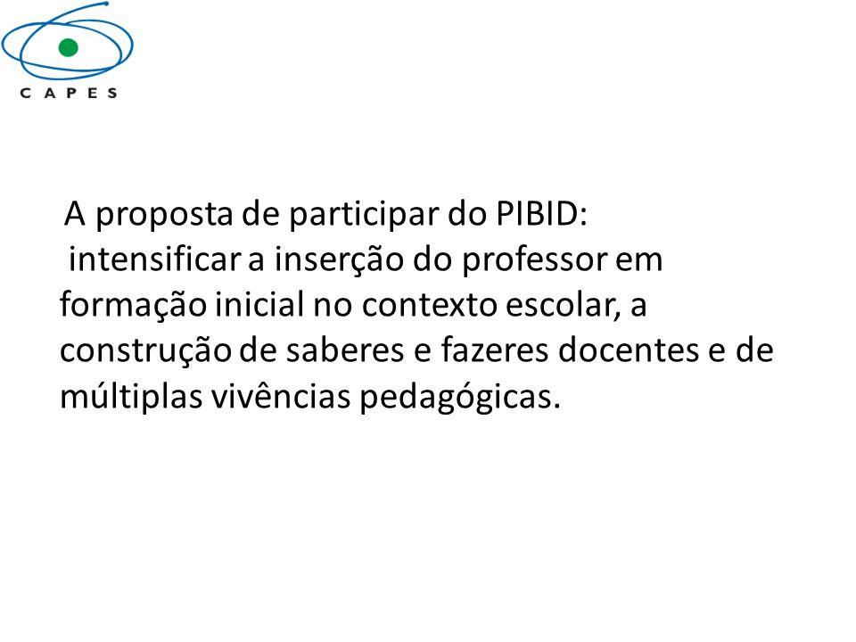 A proposta de participar do PIBID: intensificar a inserção do professor em formação inicial no contexto escolar, a construção de saberes e fazeres doc