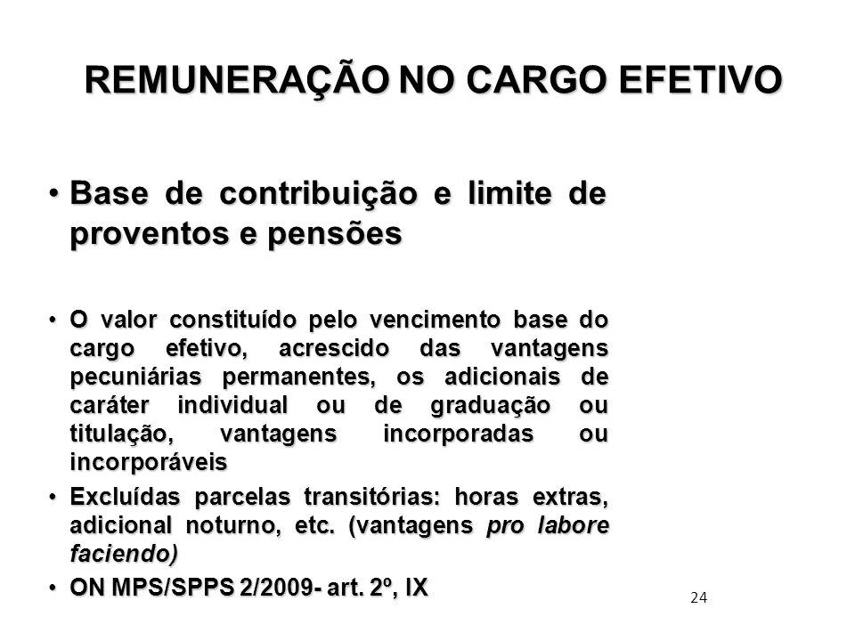 24 REMUNERAÇÃO NO CARGO EFETIVO REMUNERAÇÃO NO CARGO EFETIVO Base de contribuição e limite de proventos e pensõesBase de contribuição e limite de prov