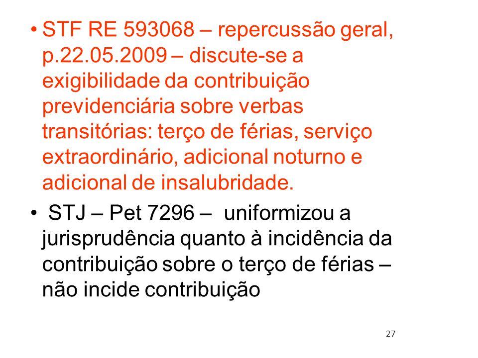 27 STF RE 593068 – repercussão geral, p.22.05.2009 – discute-se a exigibilidade da contribuição previdenciária sobre verbas transitórias: terço de fér