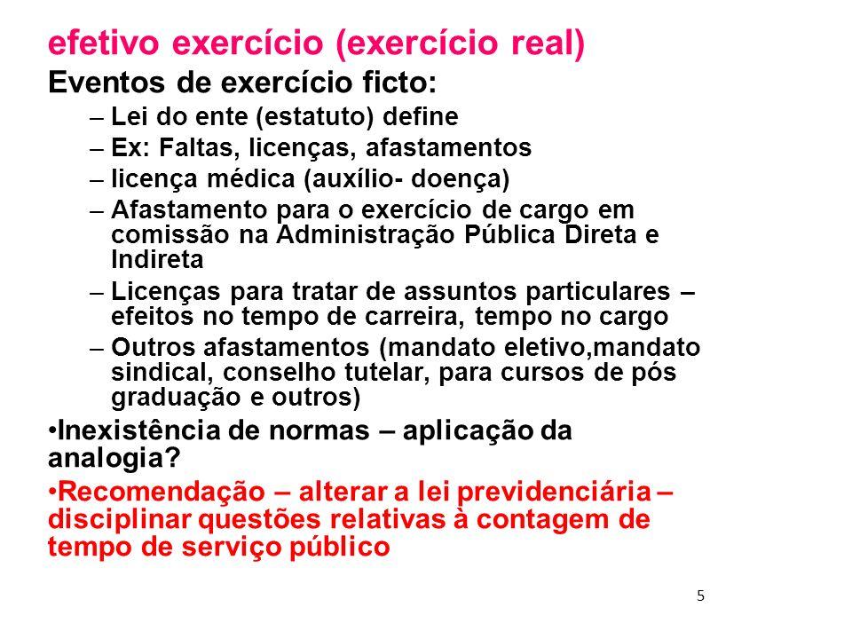 5 efetivo exercício (exercício real) Eventos de exercício ficto: –Lei do ente (estatuto) define –Ex: Faltas, licenças, afastamentos –licença médica (a