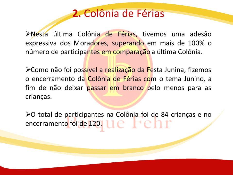 2. Colônia de Férias Nesta última Colônia de Férias, tivemos uma adesão expressiva dos Moradores, superando em mais de 100% o número de participantes