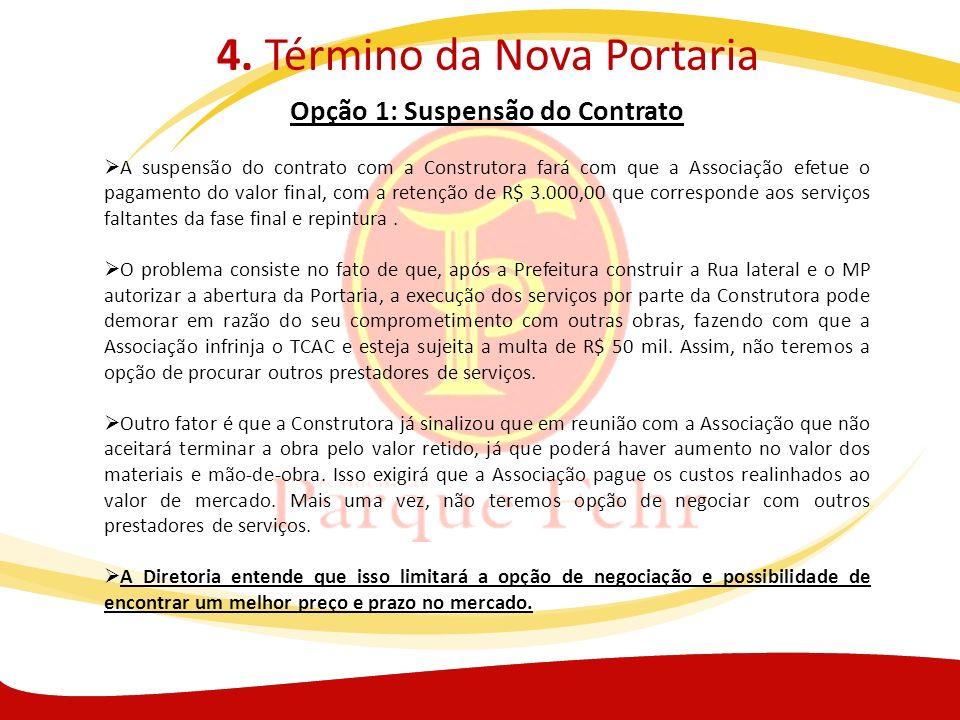 4. Término da Nova Portaria Opção 1: Suspensão do Contrato A suspensão do contrato com a Construtora fará com que a Associação efetue o pagamento do v