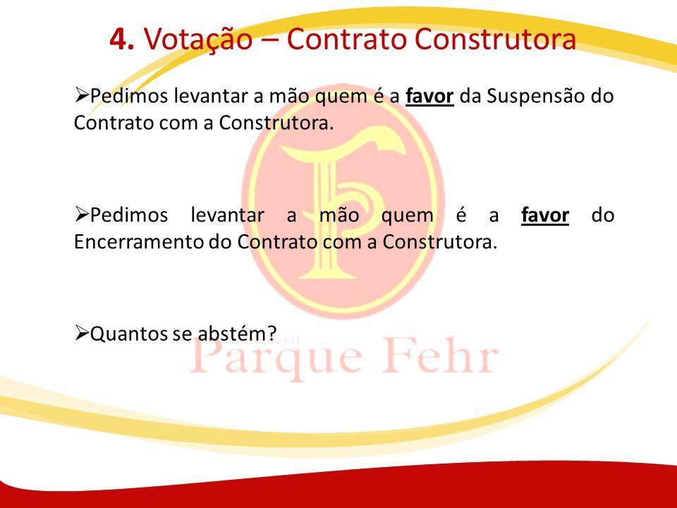 4. Votação – Contrato Construtora Pedimos levantar a mão quem é a favor da Suspensão do Contrato com a Construtora. Pedimos levantar a mão quem é a fa