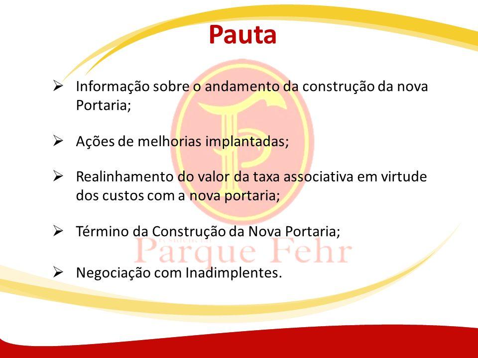 Pauta Informação sobre o andamento da construção da nova Portaria; Ações de melhorias implantadas; Realinhamento do valor da taxa associativa em virtu