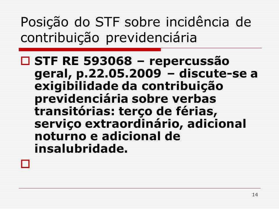 14 Posição do STF sobre incidência de contribuição previdenciária STF RE 593068 – repercussão geral, p.22.05.2009 – discute-se a exigibilidade da cont