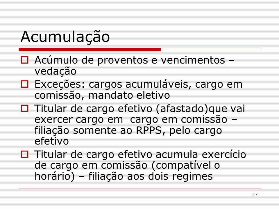 27 Acumulação Acúmulo de proventos e vencimentos – vedação Exceções: cargos acumuláveis, cargo em comissão, mandato eletivo Titular de cargo efetivo (