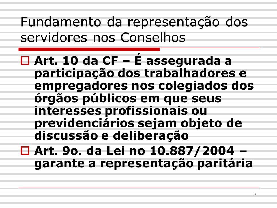 5 Fundamento da representação dos servidores nos Conselhos Art. 10 da CF – É assegurada a participação dos trabalhadores e empregadores nos colegiados