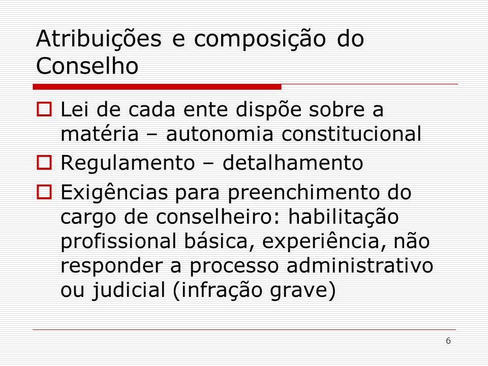 6 Atribuições e composição do Conselho Lei de cada ente dispõe sobre a matéria – autonomia constitucional Regulamento – detalhamento Exigências para p