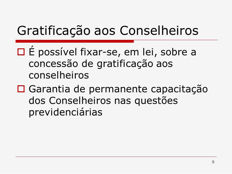 9 Gratificação aos Conselheiros É possível fixar-se, em lei, sobre a concessão de gratificação aos conselheiros Garantia de permanente capacitação dos