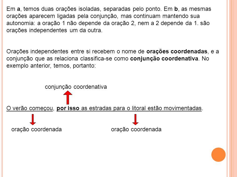Conjunção é a palavra invariável que liga: * duas orações; * duas palavras de mesma função em uma oração. Classificação das conjunções Existem dois me