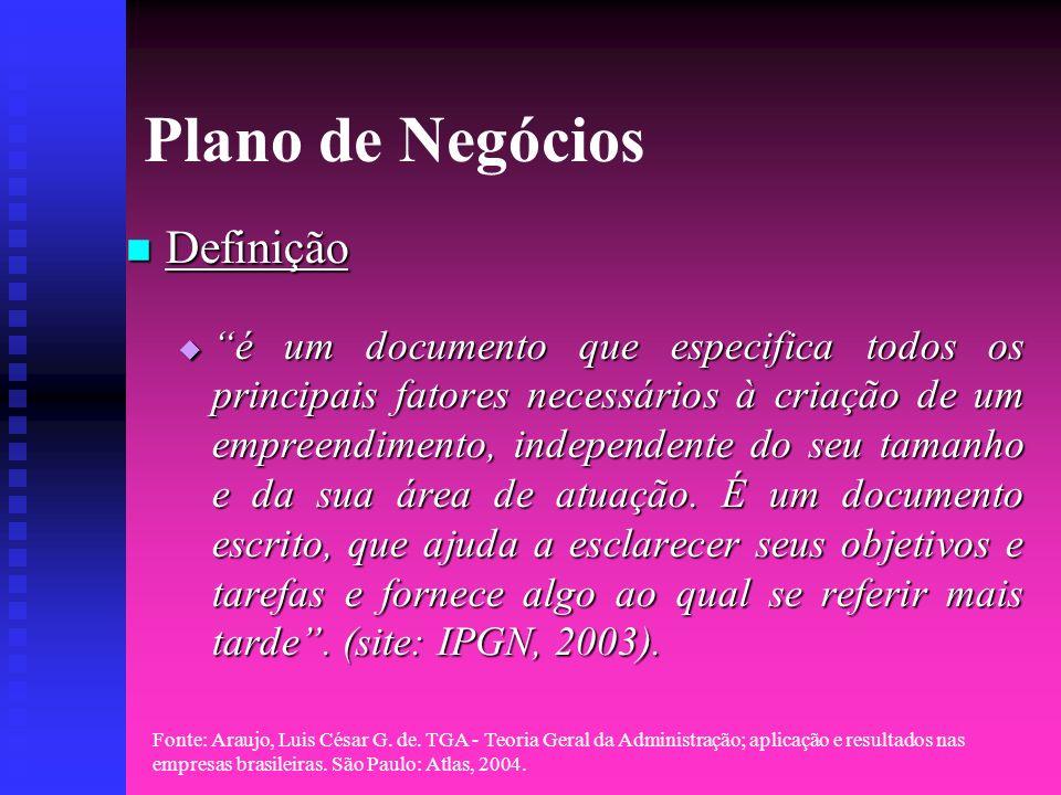 Fonte: Araujo, Luis César G. de. TGA - Teoria Geral da Administração; aplicação e resultados nas empresas brasileiras. São Paulo: Atlas, 2004. Plano d