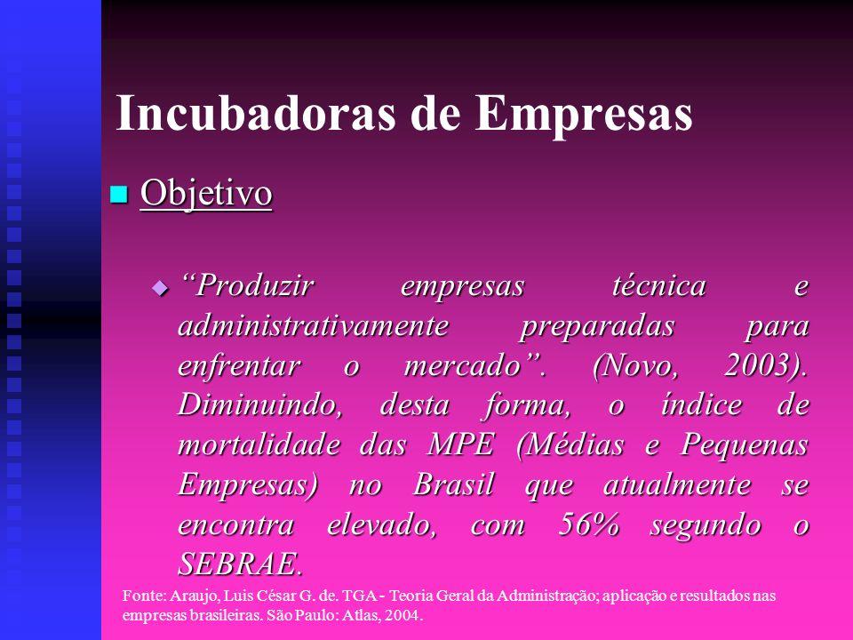 Fonte: Araujo, Luis César G. de. TGA - Teoria Geral da Administração; aplicação e resultados nas empresas brasileiras. São Paulo: Atlas, 2004. Incubad