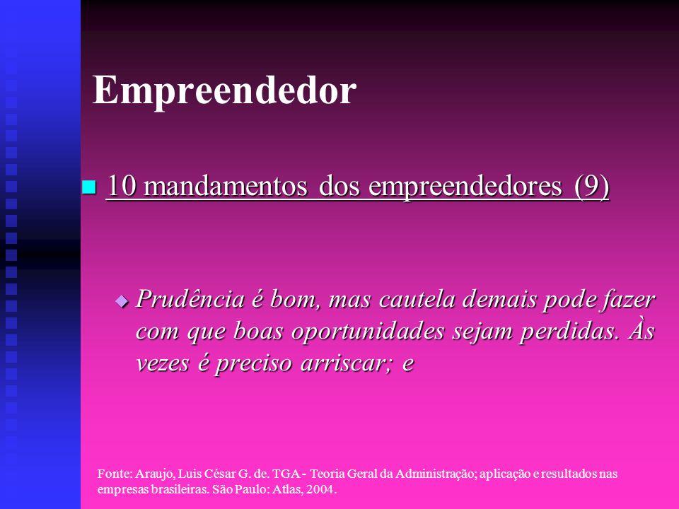 Fonte: Araujo, Luis César G. de. TGA - Teoria Geral da Administração; aplicação e resultados nas empresas brasileiras. São Paulo: Atlas, 2004. Empreen