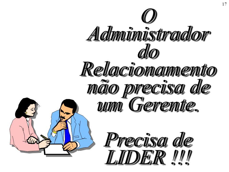 17 O Administrador do Relacionamento não precisa de um Gerente. Precisa de LIDER !!!