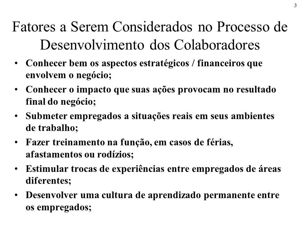 4 Fatores a Serem Considerados no Processo de Desenvolvimento dos Colaboradores Transformar os empregados em agentes multiplicadores do processo de aprendizagem; Recompensar empregados que adquiram novas habilidades de forma efetiva; Criar caminhos para o desenvolvimento dos empregados via treinamento: - treinamento de habilidades; - aperfeiçoamento de tomadas de decisão e solução de problemas; - desenvolvimento de habilidades técnicas e gerenciais; - programas de desenvolvimento comportamental; - gerar metas de desenvolvimento individual para o corpo de empregados.