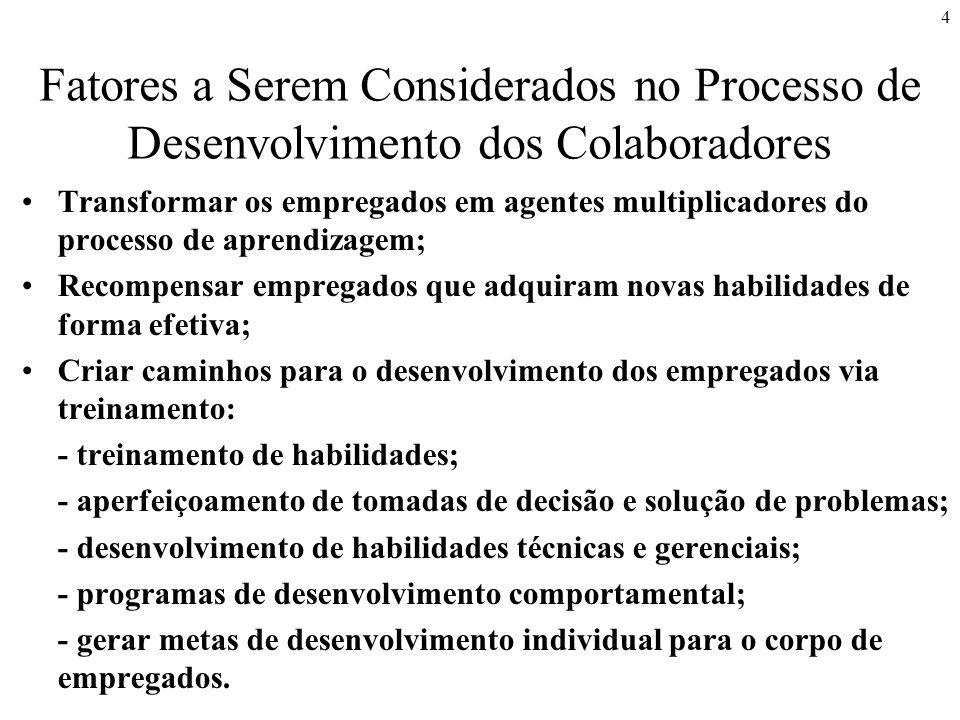4 Fatores a Serem Considerados no Processo de Desenvolvimento dos Colaboradores Transformar os empregados em agentes multiplicadores do processo de ap